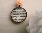 Necklace: Enamor, Glass, Bead, Pink, Rose, Flower, Circular, Pendant, Word, Antique Copper