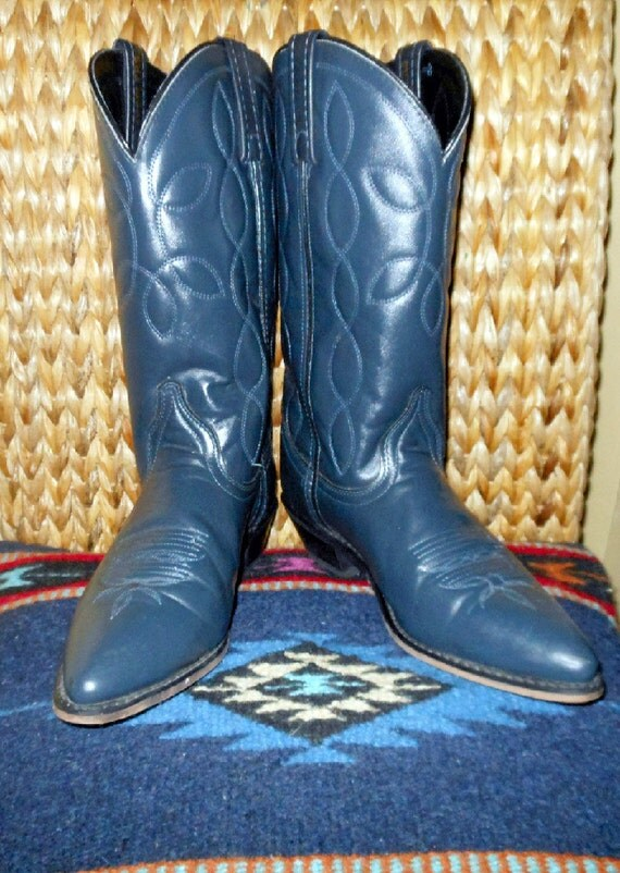 vintage cowboy navy blue western boots by busstopshop