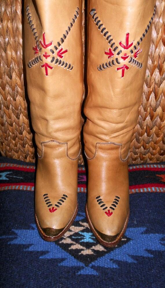 Vintage Tall Southwestern Cowboy Cowgirl Western Boots by Zodiac size 6 M
