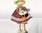 country style raggedy doll, Rosie and the bird