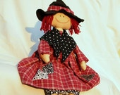 halloween raggedy doll in country style, stuffed, recycled: The Good Witch
