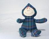 stuffed elf toy blue plaid for babies