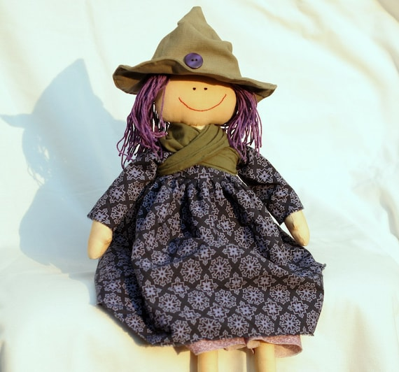 The Good Witch in purple, raggedy doll in country style, stuffed, recycled