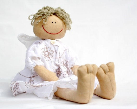 White Angel,  country style raggedy doll