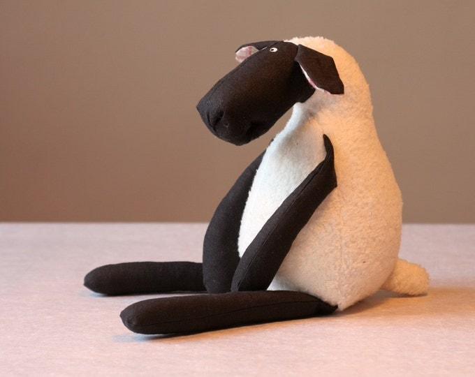 Stuffed Plush Sheep Black and White, Cuddly Soft Lamb, Plush Toy