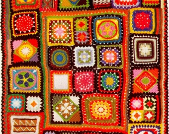 INSTANT download 204. Beautiful crochet Blanket  Granny Squares Afghan  Throw Crochet Pattern  - PDF -