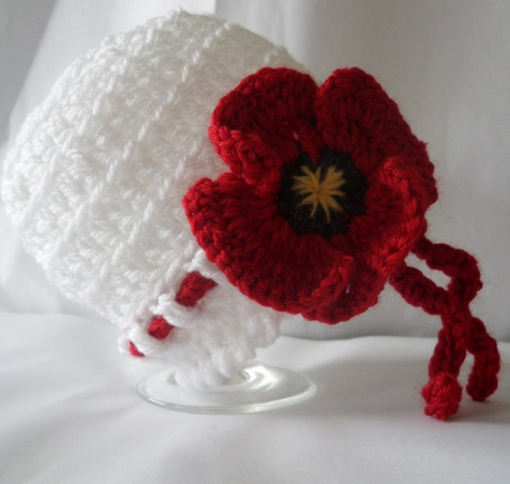 Poppy Flower Girls Hat  age 0-3 & 3-6 months 6 -12 1 -3 years crochet Pattern