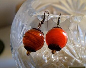 orange handmade lampwork earrings