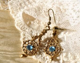 light saphire blue filigree earrings