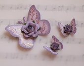 Handmade Lavendar Butterflies with Floral Accents
