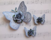Handmade Blue Butterflies with Floral Accents