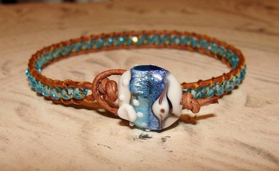 Ocean Breeze lampwork bead leather wrap bracelet