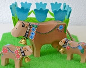 Wooden Toy Cows, Swiss Handmade, Mother and 2 Calves, Traditionally Painted