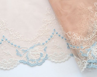 Baby Blue Embroidered Roses Trim, Light Blue Floral Trim, Baby Fabric, Brides Maids, Flower Girls Dress