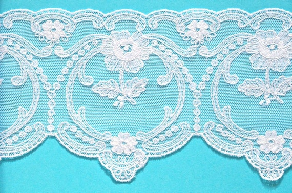Lace Trim, White, Floral, Fancy Embroidered, Venice Lace, 2 yds