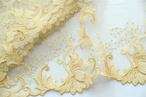 RESERVED for ELENA Embroidered Trim,Venice Lace, Exquisite, Romantic Golden, 2 meters