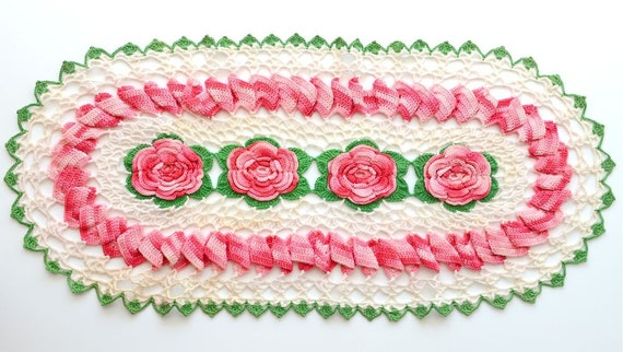 Reserve Listing for TOMOKO Vintage Crochet Doilie, Pink Roses, Shabby Chic, Large, Oval, or Petite Table Runner