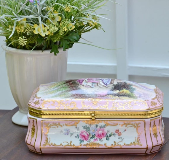 Large Vintage Porcelain Box, Pink Floral, with Gold Hand Painted boarders, Romantic Treasure,