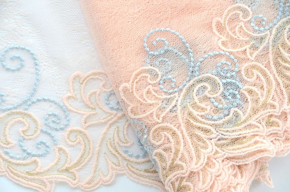 Embroidered Trim, Venice Lace, Magical, Gold,Peach and Light Blue Leaves and Scrolls