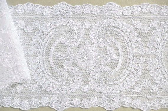 White Wedding Trim, Floral, Paisley Twin, Embroidered, Bridal Lace, 1.5 meters
