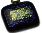 Royal Blue Gold Art Glass  Dichroic Jewel Pendant