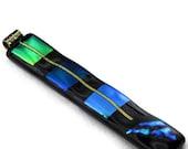 Art Glass Pendant Dichroic Necklace Blue Green Sea Grass