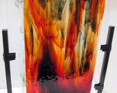 Glass Abstract Art Sculpture Red and Black Flame For Home or Office