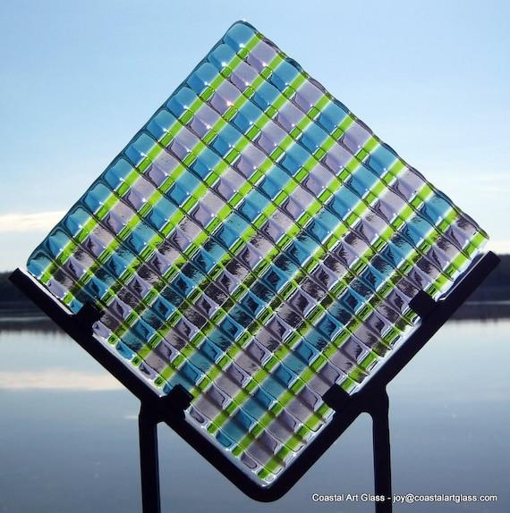 Garden Art Glass Sculpture Purple Green Blue Pinwheel Sun Catcher Artist Signed as seen in The Craft Report Magazine
