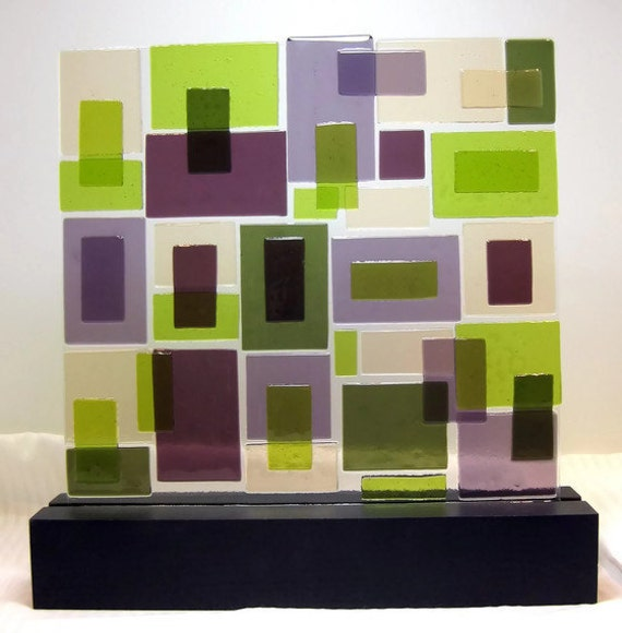 Abstract Fused Glass Sculpture Mid Century Modern Purple Passion  For Home Or Office Decor