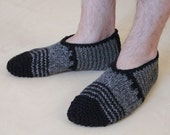 Hand knit wool slippers for men, pick a size