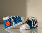 Sport Shoes, hand knit booties for a baby boy, 0-3 months