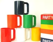 Mod Rainbow Ingrid Party Mugs Bright Primary Colors