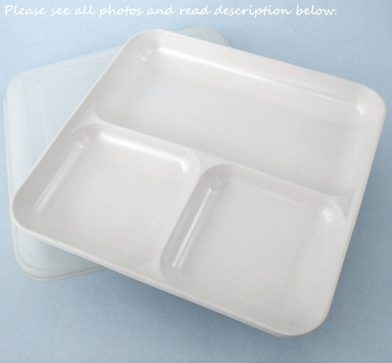 Sectioned Tupperware: Tupperware Ultra 21 Microwave & Oven-Safe Divided Plate / Lid