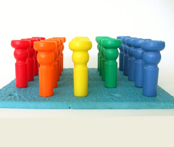 Rainbow Educational Toy - Lauri Tall Stacker Pegs