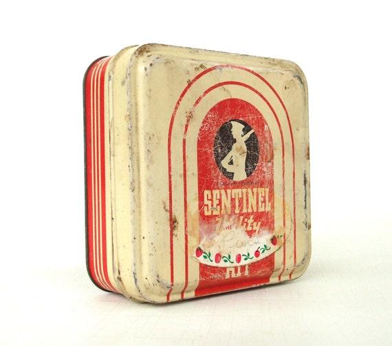 Vintage Tin Trinket Box Sentinel Utility First Aid Kit