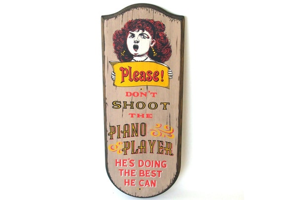 Vintage Saloon Sign Bar Decor Wall Plaque Piano Player