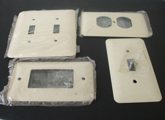 Metal Wall Plate Cover(s) Ivory Wrinkle Architectural Salvage LOT