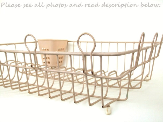 Large Vintage Dish Drying Rack Beige Taupe Kitchen