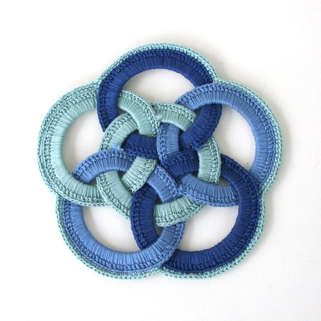 Handmade Blue Crocheted Hot Pad Vintage Trivet Knot Weave
