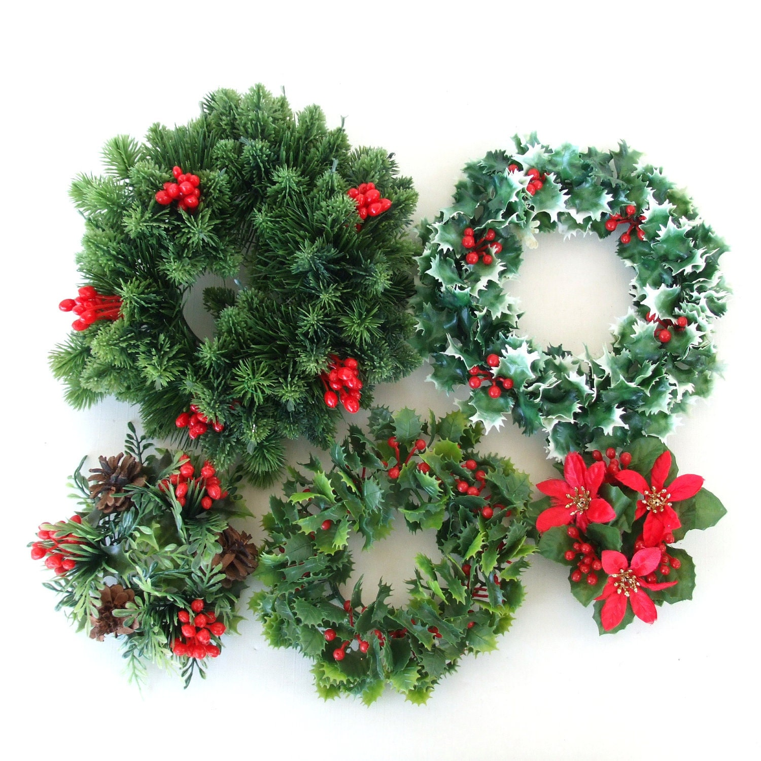 Fake Christmas Wreath Holiday Candle Holders Plastic