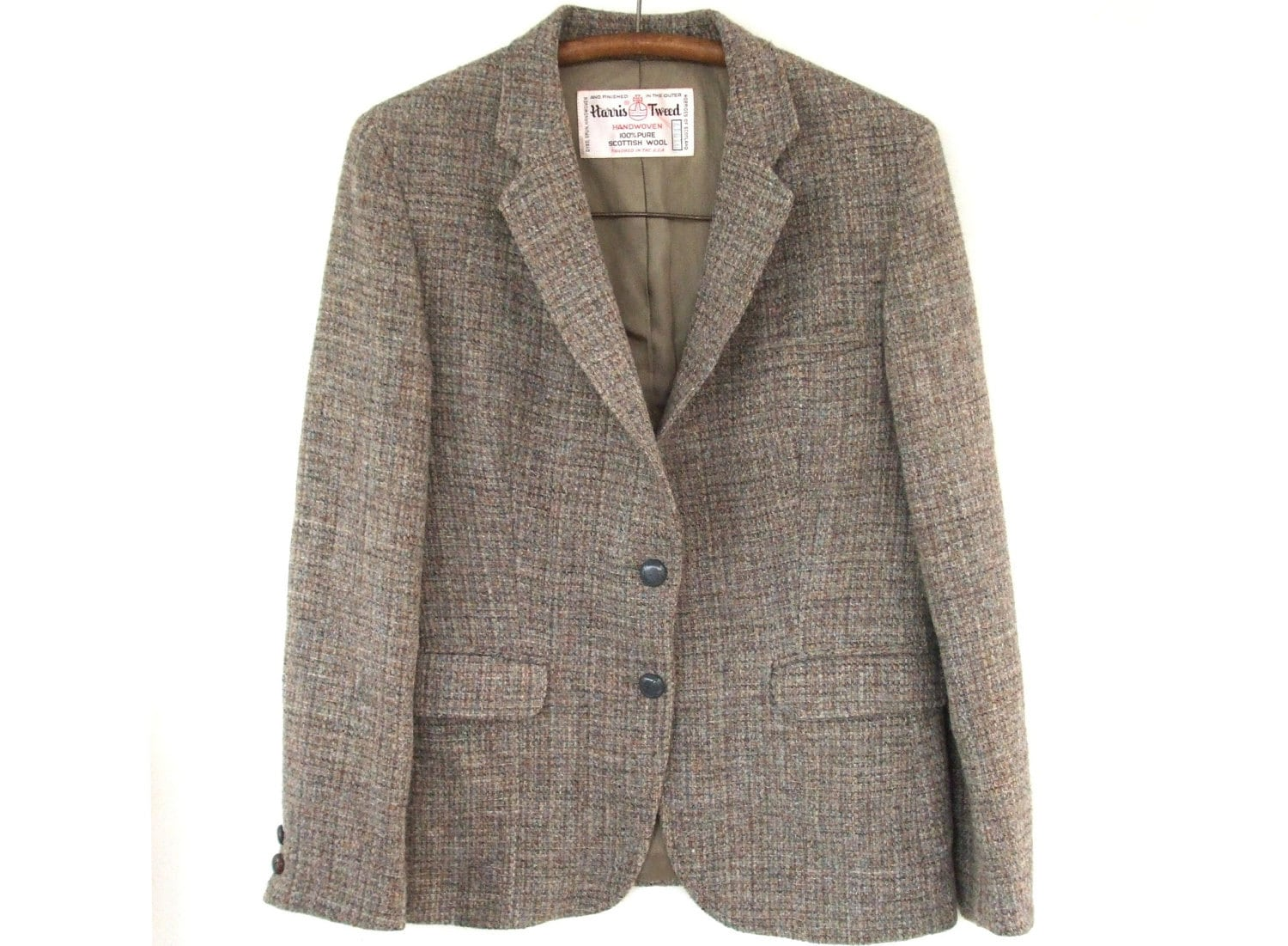 Classic Harris Tweed Blazer Women Boyfriend Jacket Medium 10