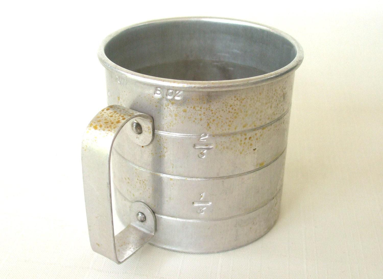 Vintage Aluminum 1 Cup Measure 8 Oz Measuring Cup