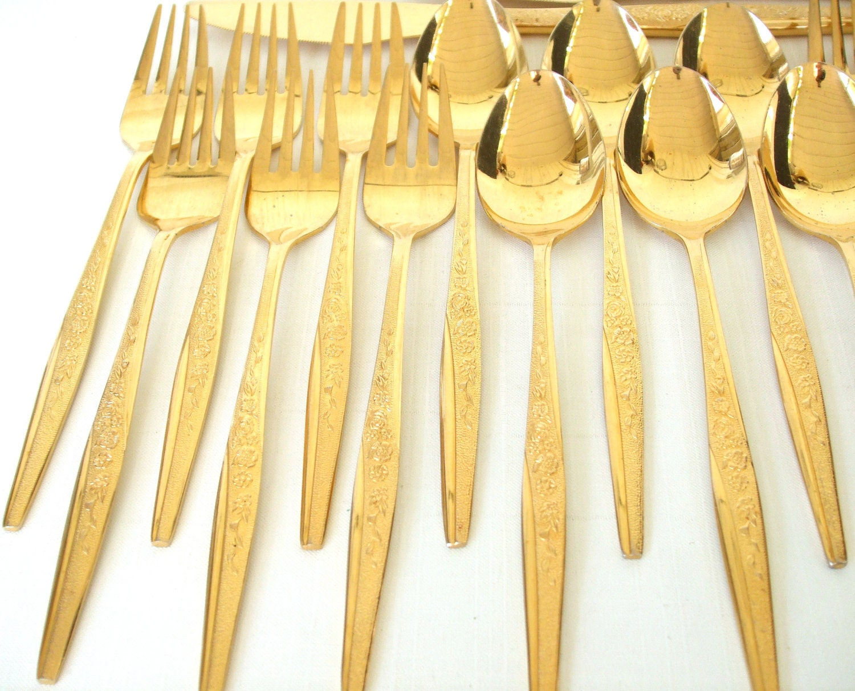 Golden Bouquet Flatware Set Gold Silverware Set Electroplate