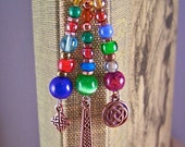 Bookmark - Copper Plated Pewter Celtic and Mixed Media Beads - Hammered Copper Shepherd Hook Page Marker