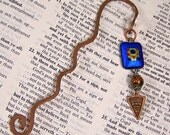 Book Mark Hand Forged Copper - Cobalt and Copper Dichroic Fused Glass
