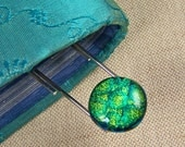 "Dichroic Bookmark  -  3.5 Inch Paperclip / .75"" Golden Green Fused Glass"