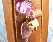 Bookmark - Pig of Carved Bone / Pink Marble Stone Bead / Blown Glass Bead - Silver Plated Shepherds Hook