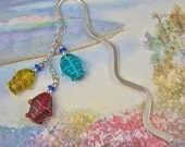 Bookmark - Handmade Glass Fish Beads - Silver Colored Chain & Wavy Shepherd Hook - Yellow Red Blue Fishing Theme