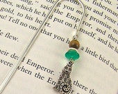 Bookmark - Silver Plated Pewter Cat with Mixed Media Beads / Silver Shepherds Hook Green Glass & Brown Tiger Eye