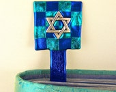 "Star of David Bookmark / Chanukah Blue & Teal Checkered Pattern Pewter Charm - 6"" Friendly Plastic Modeling Polymer"